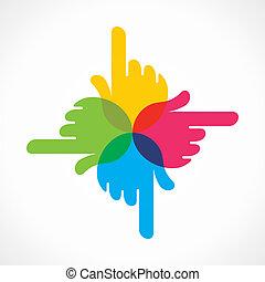 手, デザイン, 創造的, カラフルである, アイコン