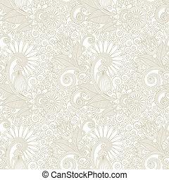 手, ドロー, 華やか, seamless, 花, ペイズリー織デザイン, 背景