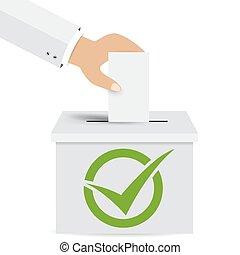 手, パッティング, a, 投票, 投票, 中に, a, スロット, の, 箱