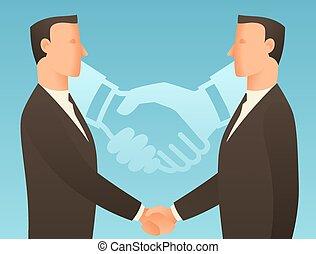手, ビジネスマン, ビジネス, 協力, イラスト, 概念, 動揺