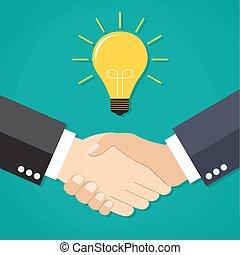 手, ビジネスマン, 2, 取引, 振動