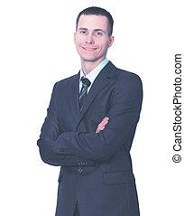 手, ビジネス, 交差させる, 若い, 背景, 人間が立つ, 彼の, 白