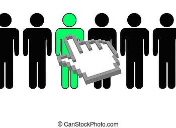 手, ピクセル, カーソル, selects, 人, から, 横列, の, 人々