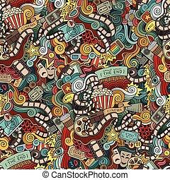 手, フィルム, 映画館, doodles, 漫画, 引かれる, pattern., seamless, 映画
