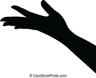 手, ベクトル, シルエット