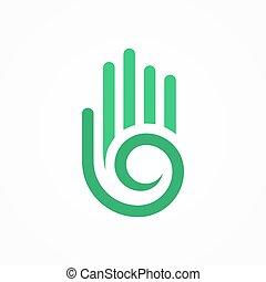 手, ベクトル, シンボル, らせん状に動きなさい