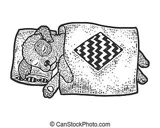 手, ベクトル, スケッチ, 服装, 白, image., 黒, 引かれる, design., 漫画, tシャツ, 彫版, スタイル, 犬, 印刷, 子犬, 板, illustration., imitation., かきなさい, 面白い, 睡眠