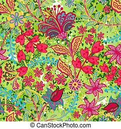 手, ベクトル, 引かれる, prints., パターン, 白, スタイル, seamless, florals., モチーフ, texture., レトロ, 分散させる, 多数, 花, ファッション, 印刷, 植物, random., 種類, バックグラウンド。