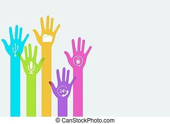 手, ベクトル, 技術, カラフルである, infographics