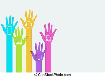 手, ベクトル, 技術, 現代, infographics