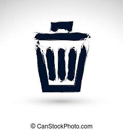 手 - ペイントされた, 缶, 隔離された, アイコン, ベクトル, 単純である, 背中, 屑, 白