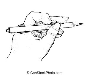 手, ペン, ペーパー, 保有物, 執筆