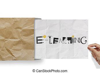 手, ペーパー, 単語, 封筒, 引く, しわくちゃになった, e 勉強, デザイン, 概念