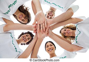 手, ボランティア, パッティング, グループ, 朗らかである, 一緒に