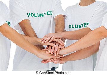 手, ボランティア, パッティング, 群をなしなさい