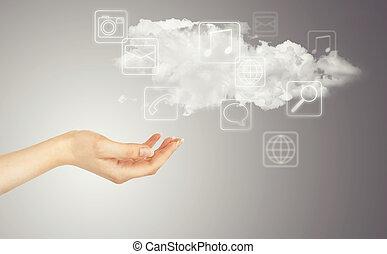 手, マルチメディア, 雲, アイコン