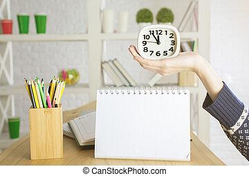 手, メモ用紙, 保有物, の上, 時計