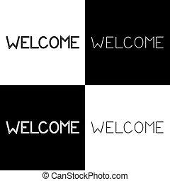 手, レタリング, 歓迎, レトロ, 書かれた