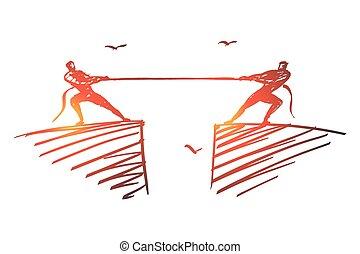 手, ロープ, 引かれる, 人々, 側, のろのろと過ぎる, 別
