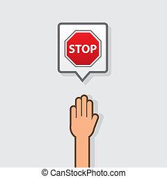 手, 一時停止標識