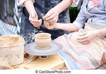 手, 上に働く, 投げる, 車輪, マスター, クラス, の, スタジオ, 陶器