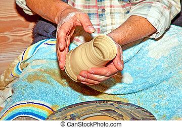手, 上に働く, 陶器の 車輪