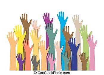 手, 不同, colors., 文化, 少数民族的不同