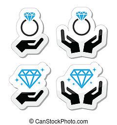 手, 交渉, ダイヤモンド指輪
