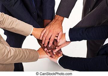 手, 人々ビジネス, 一緒に, グループ