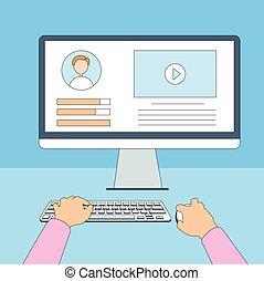 手, 仕事, コンピュータ, 使うこと, 線, タイプ, 薄くなりなさい, デスクトップ