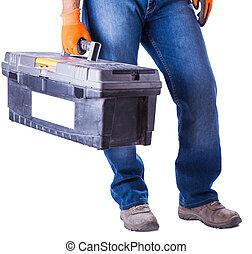 手, 仕事, 手掛かり, 道具, 箱