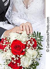 手, 以及, 戒指, 上, 婚禮花束