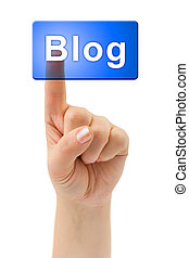 手, 以及, 按鈕, blog