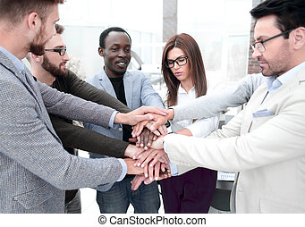 手, 作成, ビジネス チーム, 地位, 山