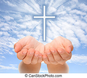 手, 保有物, キリスト教徒, 交差点, ∥で∥, 光線, 上に, 空