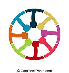手, 保有物, サミット, room., ハンドル, 同じ, 概念, 力, 接続, 円, グループ, 労働者, ミーティング
