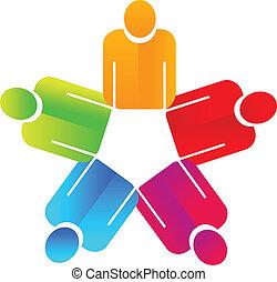 手, 保有物, 人々, チームワーク, ロゴ