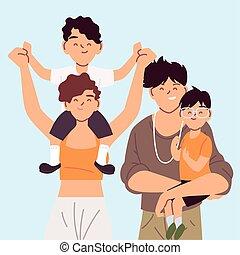 手, 保有物, 肖像画, 親, 家族, 幸せ, 子供