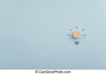 手, 光線, 作られた, ライト, 円, 切口, 電球, 引かれる, 木製である
