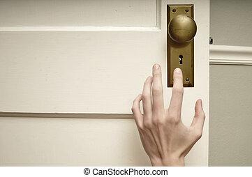 手, 到達為, 門把手