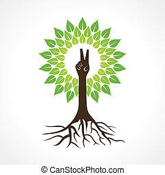 手, 勝利, 木, 作りなさい