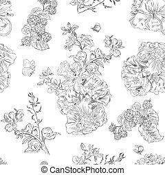 手, 包むこと, 引かれる, イラスト, 花, seamless, ラズベリー, パターン, peony., 生地