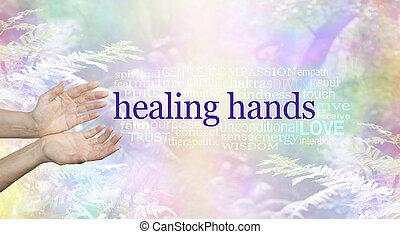 手, 単語, 治癒, 雲, 自然