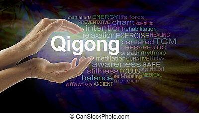 手, 単語, 治癒, 雲, qigong