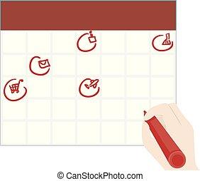 手, 印, イラスト, 毎日, 仕事, カレンダー