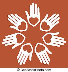 手, 合併した, vector., 心