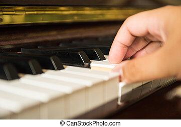 手, 向上, 一, 關閉, 鋼琴, 玩, 人
