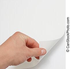 手, 回転しているページ