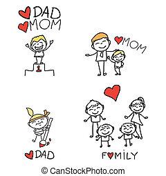 手, 図画, 漫画, 家族, 幸せ
