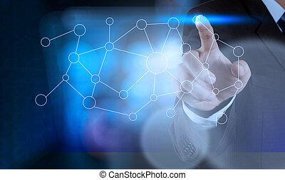 手, 图, 空白, 流程图, 在上, 新, 现代, 计算机, 作为, 概念